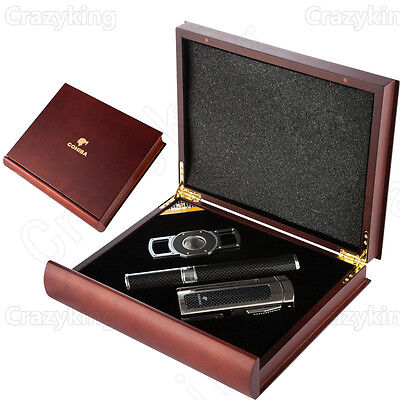 Cohiba  Excellent Cedar Wood Cigar Humidor With Cutter Lighter Tube Set