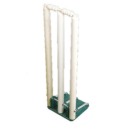 Official Spring Return Outdoor Cricket Heavyweight Metal Base Wickets & Stumps