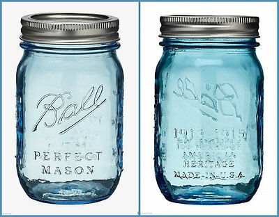 """One Ball Blue """"Perfect Mason"""" Jar Vintage Heritage Collection 16 oz Collectible"""