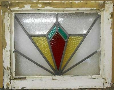"OLD ENGLISH LEADED STAINED GLASS WINDOW Geometric Burst Design 21"" x 16.75"""