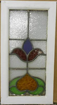 "OLD ENGLISH LEADED STAINED GLASS WINDOW Pretty Floral Design 11.5"" x 21.75"""
