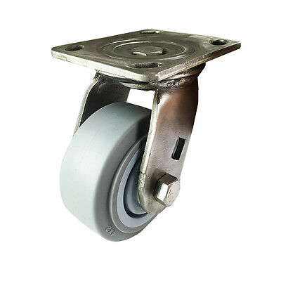 "4"" X  2"" Stainless Steel  Non-Marking Rubber Wheel Caster - Swivel (Flat)"