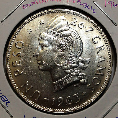 1963 Dominican Republic Silver One Peso High Grade Low Mintage