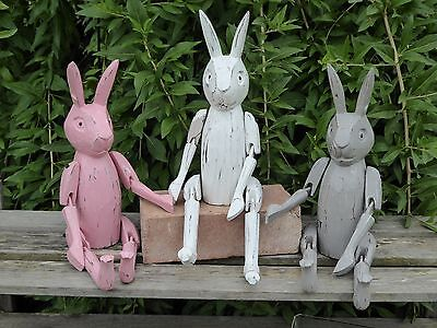 Wooden Hand Carved Shabby Chic Shelf Rabbits 40cm..Three Colours..