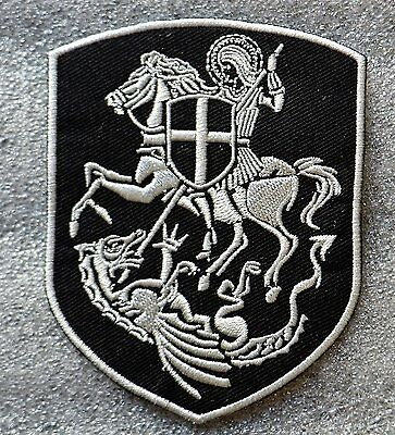St.George On Horse Slaying Dragon Cross Shield Embroidered Iron On Patch