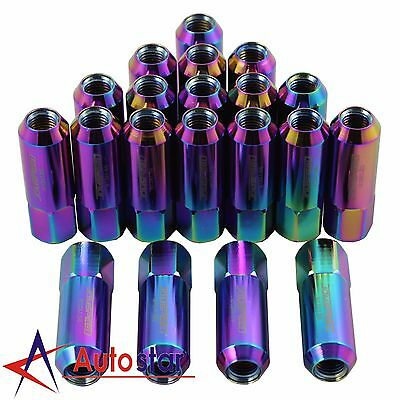 20PCS Neo Chrome M12X1.5 60MM JDMSPEED Extended Aluminum Tuner Racing Lug Nuts