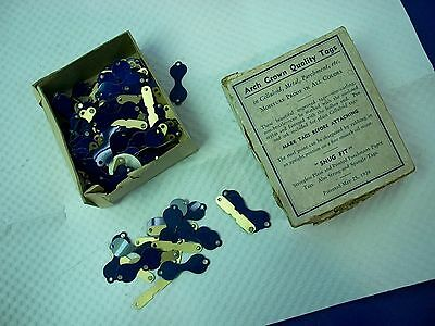 Arch Crown Quality Tags Vintage 1920s Celluloid dark Blue/Purple Newark NJ USA