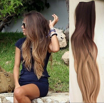 "Full Head Clip in Human Hair Extensions Remy Ombre Dip Dye Straight 18"" Blonde"