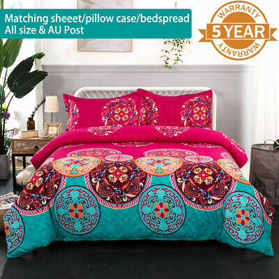 Oriental Mandala Bed Pillowcases Quilt Duvet Cover Set Single Queen King Size