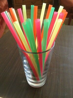 """Fat Neon Malt Straws 400 count unwrapped 8 inches long NEW 5/16"""" Wide"""