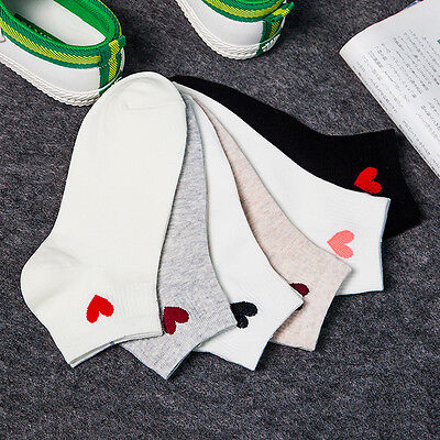 New Womens Girls Heart Casual Cute Heart Ankle High Low Cut Soft Cotton Socks