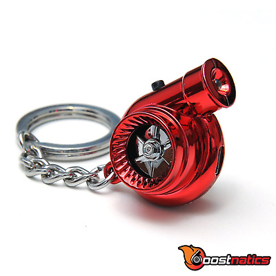 Boostnatics Rechargeable Electric Turbo Keychain Keyring w/ Sounds & LED - Red