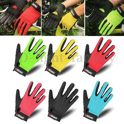 QEPAE Men Sport Cycling Bicycle Breathable Gel Full Finger Gloves Summer S-XXL