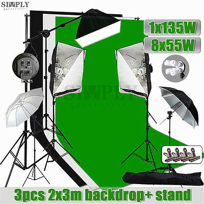 Photography Studio Softbox Lighting Speedlite Umbrella Light Backdrop Stand Kit