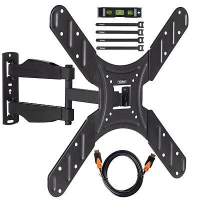 "VonHaus 20-50"" Tilt & Swivel TV Wall Mount Bracket with HDMI, Cable Ties & Level"