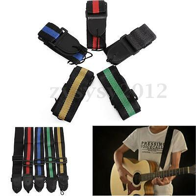 UK Adjustable Guitar Strap For Electric Acoustic Bass Webbing Leather Ends New