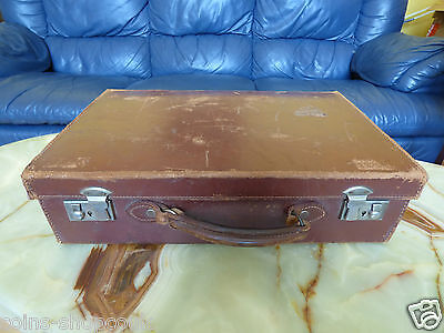 Super  Antique Vintage  English Suitcase Steamer Trunk