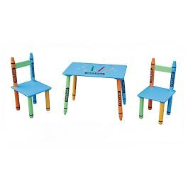 Children's Kids Crayon Design Table and Chairs Set Bedroom Playroom Furniture