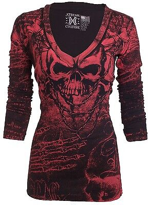 XTREME COUTURE by AFFLICTION Women LS T-Shirt KILLER Tattoo Biker Sinful $58