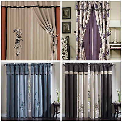 Chezmoi Collection 4pc Floral Embroidery Jacquard  Window Curtain Set