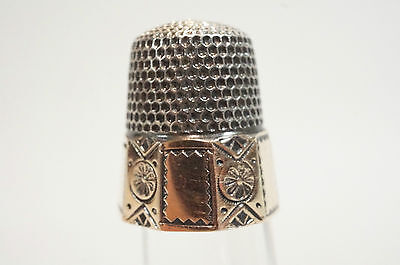 Vintage Gold & Sterling Silver Thimble with Gold Edging Great Display Size 9