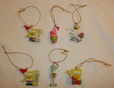 Lot of 6 Miniature SPONGEBOB SQUAREPANTS Holiday Xmas Ornaments - Sponge Bob