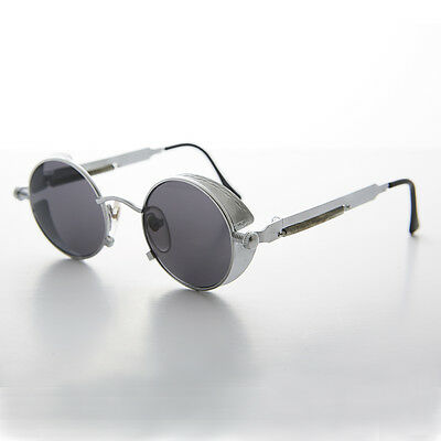 Round Steampunk Goggle Sunglass with Spring Temples NOS Silver- ORWELL