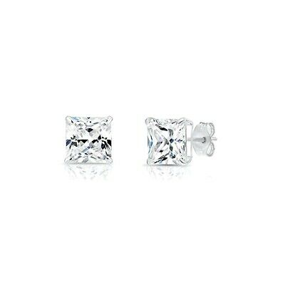 2.5CT Princess Created Diamond Earrings Square Basket Studs Solid 14K White Gold