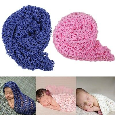 Crochet Newborn Photography Knit Wrap Costume Blanket Rug Baby Photo Props MR
