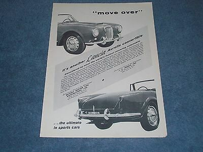 "1957 Lancia Aurelia Convertible Vintage Ad ""Move Over"""