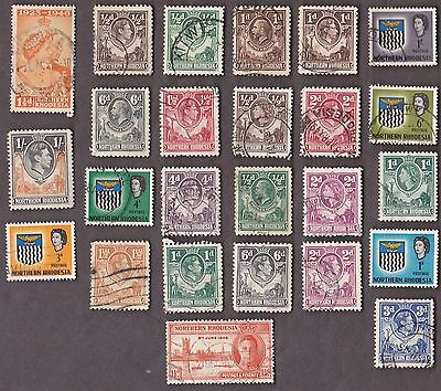 25 All Different Northern Rhodesia Stamps