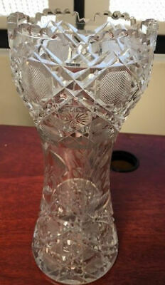 ABP Vase Pressed Cut Glass 10 inches Tall