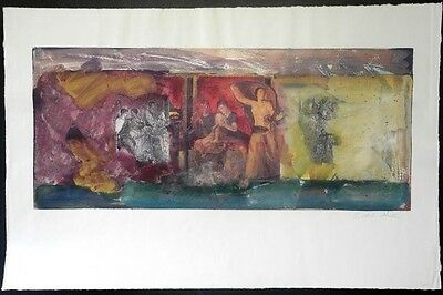 """Pompeii Fresco""-Sokol-Hohne-1 of 1-Signed- Mixed Media- Contemporary-Art-Prints"