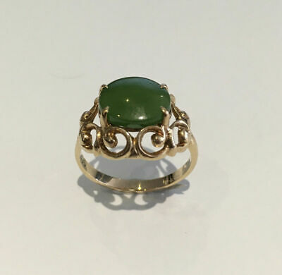 Antique 9k Yellow Gold Jade Ring - Size 7