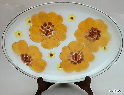 Denby UK Stoneware Minstrel Serving Platter 13in Oval Plate Orange Flower 1970s