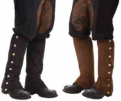Steampunk Gold/Brass Studded Boot Covers Spats Shoe Cover Black Brown Faux Suede
