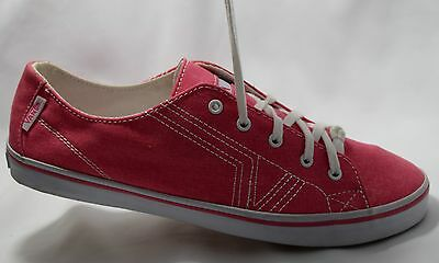 NEW VANS VN-0OYH6HC Pink & White Stitched Canvas Lo Pro Sneakers Topsiders  7