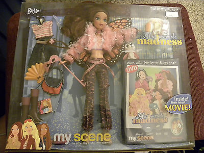 My Scene BARBIE Masquerade Madness BUTTERFLY PUNK - Boxed with DVD - EB3