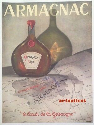 Original Vintage French Ad (1946): Armagnac. Lanselle Perfume (by J. Rottier).