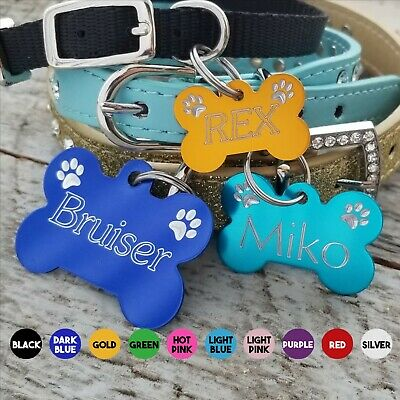 Pet Tag Dog Bone Custom Diamond Engraved Paws Name Front Details On Back 3 Sizes