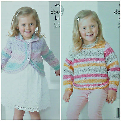 KNITTING PATTERN Girls Easy Knit Long Sleeve Bolero & Jumper DK King Cole 4247