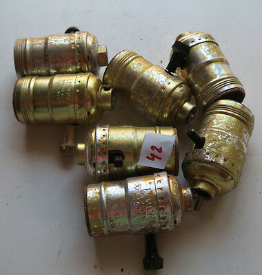 Lot of 7 socket parts with switch key for Vintage Banquet boudoir lamp Leviton