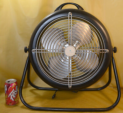 "VTG MW Metal Tru-Cold Electric Fan Black 12"" Blade 2 Speed Excellent Condition"