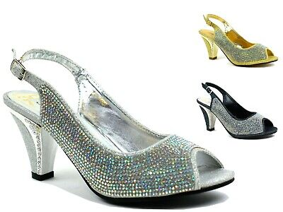0cb5164a3a9 Womens Ladies Sparkling Diamante Block Mid Heel Party Shoes Buckle Up  Sandals