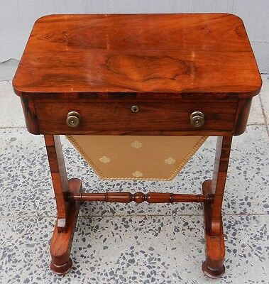 Rare ANTIQUE English 19th Century ROSEWOOD Regency Basket SEWING TABLE
