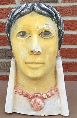 Egyptian Roman Style plaster head of a woman with inlaid eyes.