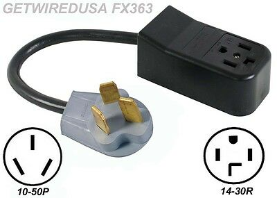 NEW 4-PRONG 14-30R DRYER RECEPTACLE to OLD 3-PIN 10-50P RANGE PLUG CORD ADAPTER