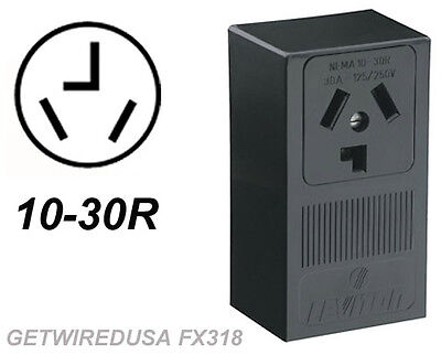 Dryer Electric Wall Outlet Female 10-30R 3-Prong Plug In Box 220 Receptacle