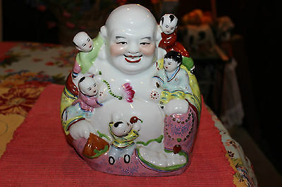 Chinese Smiling Buddha Statue Signed Bottom Buddha Holding Children