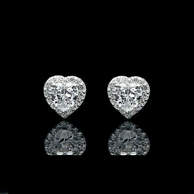 1.00CT Heart Created Diamond Halo Earrings Solid 14K White Gold Studs Round VVS1